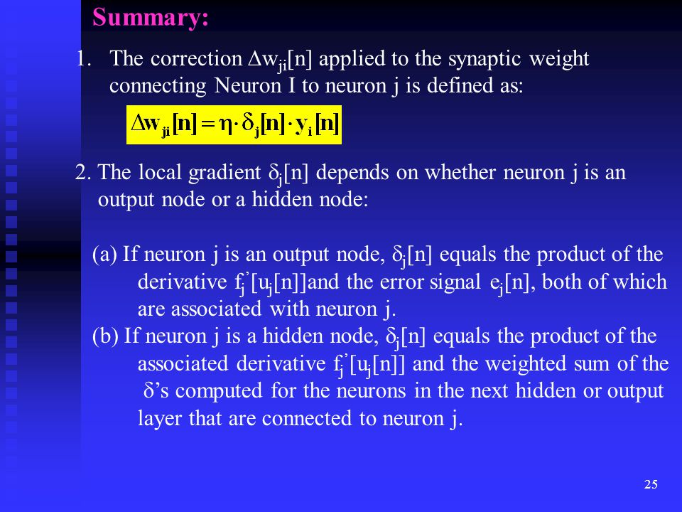 Summary: The correction wji[n] applied to the synaptic weight